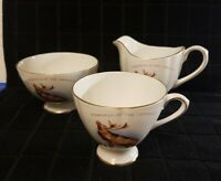 "Bone China Creamer, Sugar Bowl and Cup,  Newfoundland ""Monarch of the Topsails"""