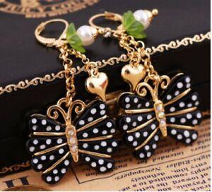 E323 Betsey Johnson Black Madame White Spot Butterfly w/  Heart Bell Earrings US