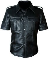 MEN'S HOT REAL SHEEP LEATHER POLICE UNIFORM BLUFF GAY SHIRT