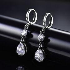 HUCHE Dangle Silver Gold Filled Pear Round Diamond Clear Topaz Women Earrings