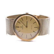OMEGA DEVILLE 9CT 375 GOLD WRISTWATCH, ON A 9CT GOLD MESH