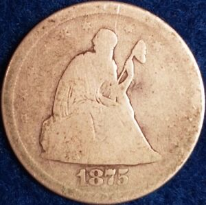 1875 San Francisco Mint 20 Cents Seated Liberty  ID #A1-7