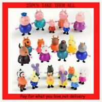 NEW 25PCS Peppa Pig Family & Friends Figures toys PLAYSET Cake decoration