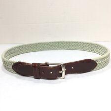 Women's Eddie Bauer Sage Green Braided Leather Brass Buckle Belt Size Small