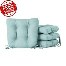 4 Seat Cushions Chair Pad 14.5 In Outdoor Chair Patio Seats Cushion Ties Teal