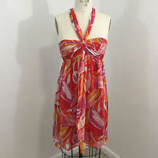 Milly Womens Halter Dress Sz 6 Empire Waist Red Orange Leaf Silk Cocktail O05