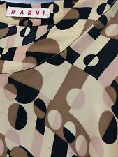 Marni Top Geometric Beige Black 100%Silk Long Sleeves  Blouse Sz38
