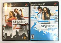 Playstation 2 PS2 Singstar Rocks & Singstar Pop Video Games Complete & Working