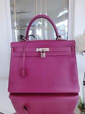 Authentic HERMES Kelly Limited Tosca Pink Purple Rose Tyrine Pink 35 Two Tone