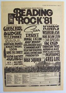READING FESTIVAL 1981 Poster Ad GIRLSCHOOL GILLAN THE KINKS BUDGIE .38 SPECIAL