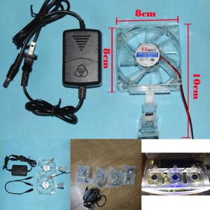 Fish Tank Cold Chiller Adjustable Aquarium Cooling Fan Silent Blue Light SH New