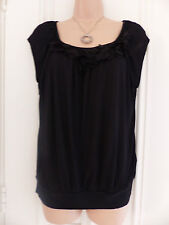 H&M size S (UK 10-12) black viscose top scoop neck and 3D flowers on the neck