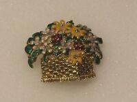 Vintage Flowers Basket Rhinestones Enamel Gold Tone Brooch Pin