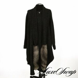 MASSIVE Anonymous Vintage Charcoal Checked Tweed Fox Fur Tail Cape Cloak Coat NR