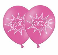 """Superhero 'BOOM' 12"""" Printed Rose Pink Latex Balloons 5 ct by Party Decor"""