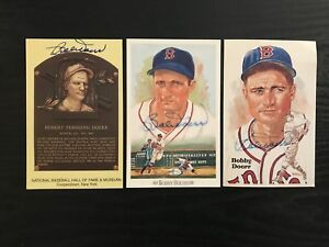 Lot of 3 Bobby Doerr Signed HOF Postcard and Perez Steele Postcards - Red Sox