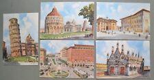 FRATTINI G.. Cinque cartoline d'epoca a colori con scorci di Pisa. Non viaggiate