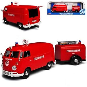 1:24 Scale Volkswagen - T2 Van Fire Truck With Trailer Red Diecast Motor Max
