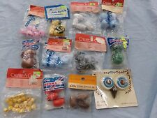Vintage Mixed Lot of 12 Packs Wood & Plastic Macrame Beads NEW Multi-Colors ~ #1