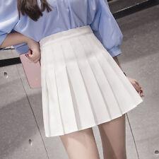 Women Lady Cute Thin High Waist Plain Skater Flared Pleated Short Mini Skirt