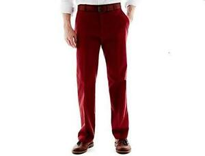 New Men's Haggar Collections Cotton Twill Chino Pants Brick Color MSRP $80