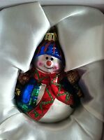 Snowman Ornaments Set of 4 - hand blown glass New In Box