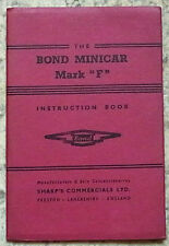 BOND MINICAR Mark F THREE WHEELER Car Instruction Book c1960 #460