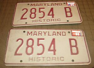 1980 Matching Pair of Maryland HISTORIC License Plates - 2854 B - White w/Red