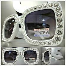 OVERSIZE VINTAGE RETRO Style SUN GLASSES Large White Square Frame Bling Crystals