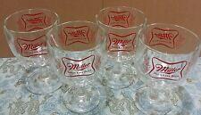 Vintage Miller High Life Beer Goblet 4 Glasses Stemmed Chalice Summer Home Bar