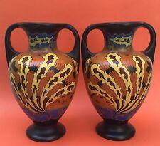 The BEST Pair of mirror image REGINA GOUDA VASES c1925 decor IDO no reserve