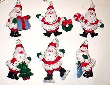 6 VINTAGE CHRISTMAS SEQUINS & BEADS SANTA'S FELT TREE ORNAMENTS VERY NICE LOOK