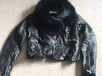 Karen Millen Black Leather Biker Jacket Size 8