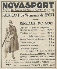 Z9945 NOVASPORT Fabricant de vetements de Sport -  Pubblicità d'epoca - 1937 Ad