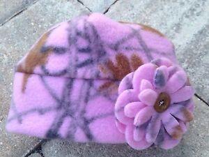 Pink RealTree Camouflage Camo Fleece Flower Hat Sizes Newborn Baby Girls, Women