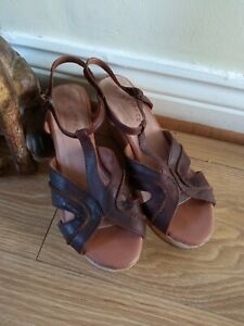 Fat Face Ladies Tan Leather Cork Effect  Wedge Strappy Sandals Size UK5 / 38