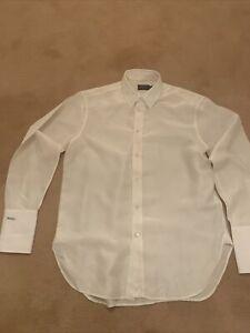 Designer Ladies Cream Silk Polo Ralph Lauren Blouse Shirt Size 10