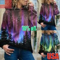 Women Long Sleeve Tree Print Hoodie Sweatshirt Pullover Blouse Casual Hooded Top
