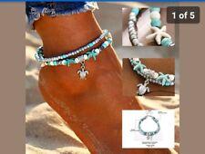 Boho Fashion Beaded star Beach Anklet Ankle Bracelet Silver Turtle dangle charm