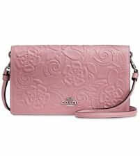 NWT $250 COACH FOLDOVER CROSSBODY CLUTCH IN GLOVETANNED LEATHER TEA ROSE...
