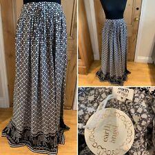 Neues AngebotEARTH ANGEL Long Maxi Skirt Elephant Print Black White Stretch Waist Viscose