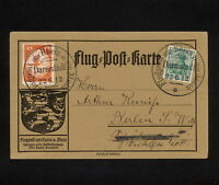 (YYAA 264) GERMANY 1912 AIR Flugpost Zeppelin card Rhein -Main Darmstad Reich