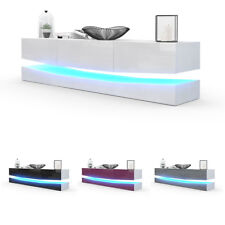 Armoire basse Meuble TV City en Blanc - Façades en coloris divers