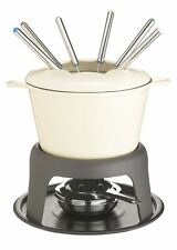 MasterClass Cast Iron Enamelled Cream Fondue Set