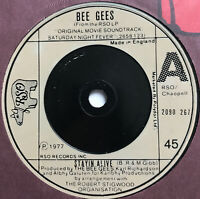 """Bee Gees Stayin' Alive 7"""" Single Vinyl Record (1977) RSO 2090267"""