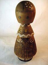 Vintage USSR Salvo wood DOLL GIRL Handmade Carved CCCP '60