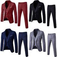 3Pcs Men Fit Formal Suits Blazer Jacket  Vest Waistcoat Trousers Wedding Suit