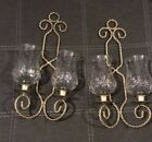 HOME INTERIORS SET OF 2 DOUBLE METAL WALL SCONCES GOLD/BRASS ROPE DESIGN