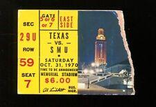 1970 Texas Longhorns vs SMU Mustangs Football Ticket National Champs 10/31/1970