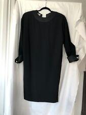 Vtg Rose Papi Dress Size 8 Holiday Black With Satin Trim shift style